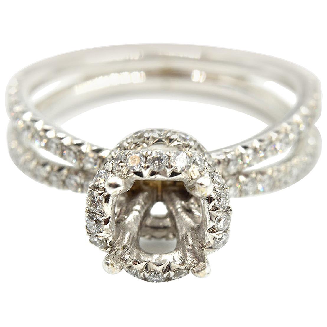 0.65 Carat Diamond 14 Karat White Gold Semi-Mount Engagement Ring