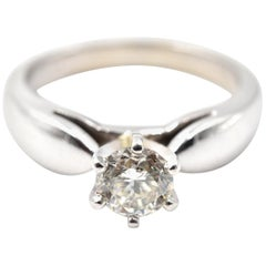 0.65 Carat Diamond 14 Karat White Gold Solitaire Engagement Ring