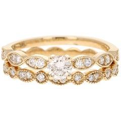 0.65 Carat Diamond Wedding Set 14 Karat Yellow Gold