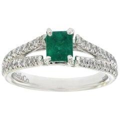 0.65 Carat Emerald and 0.36 Carat Diamonds in 14 Karat Gold Engagement Ring