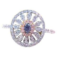 Carat Fancy Blue and Pink Diamond Ring 18 Karat White Gold