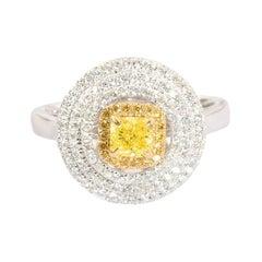 0.65 Carat Fancy Yellow Diamond Ring 18 Karat White Gold