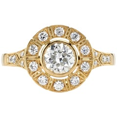 0.65 Carat GIA Certified Old European Cut Diamond Mounted in an 18K Gold Ring