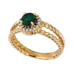0.65 Carat Natural Emerald and Diamond Ring 14 Karat Yellow Gold
