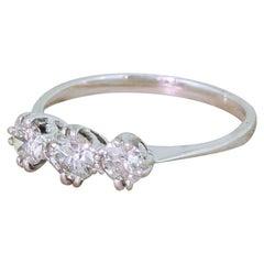 0.65 Carat Old Cut Diamond Trilogy Ring