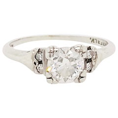 0.65 Carat Old European Cut Diamond Estate Engagement Ring in 14 Karat Gold