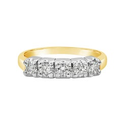 0.65 Carat Round Diamond Five-Stone Wedding Band