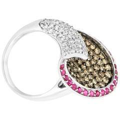 0.65 Carat Ruby and 2.08 Carat Diamond Ring