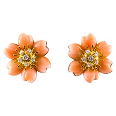 "0.65 Carat White Diamond Pink Coral Yellow Gold ""Flowers"" Clip-On Earrings"