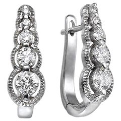 0.66 Carat 14 Karat White Gold Drop Dangle Round Diamond Earrings
