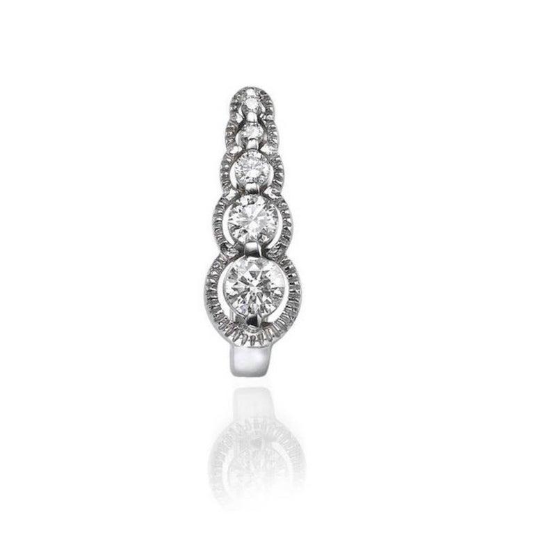 Art Deco 0.66 Carat 14 Karat White Gold Drop Dangle Round Diamond Earrings For Sale
