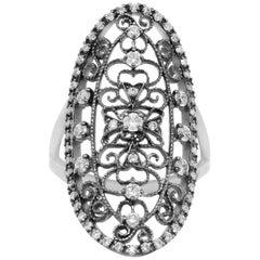 0.66 Carat Art Deco Style Black Rhodium Diamond Ring 14K White Gold