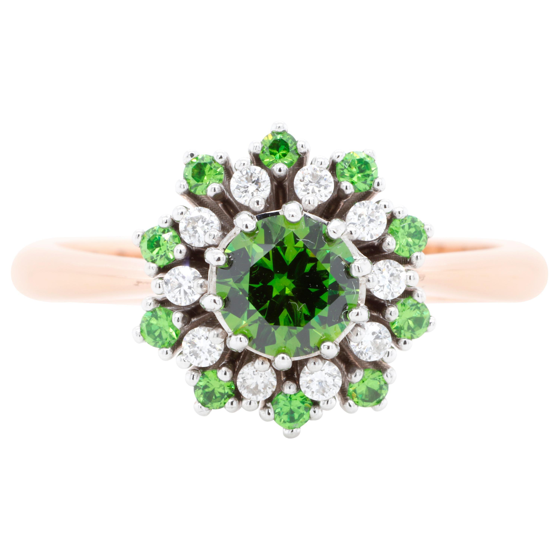 Russian Demantoid 18 Karat Gold Diamond Engagement Wedding Fashion Ring