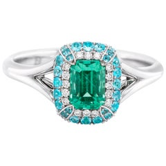 No-Oil Russian Emerald Paraiba 18 Karat Gold Diamond Ring