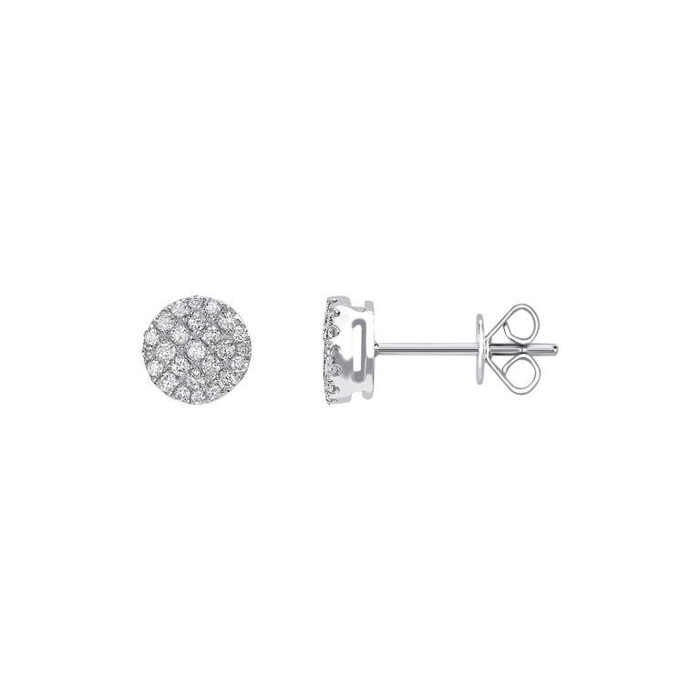 0.66 Carat Pave Set Cluster Round White Diamond 18Karat White Gold Stud Earrings