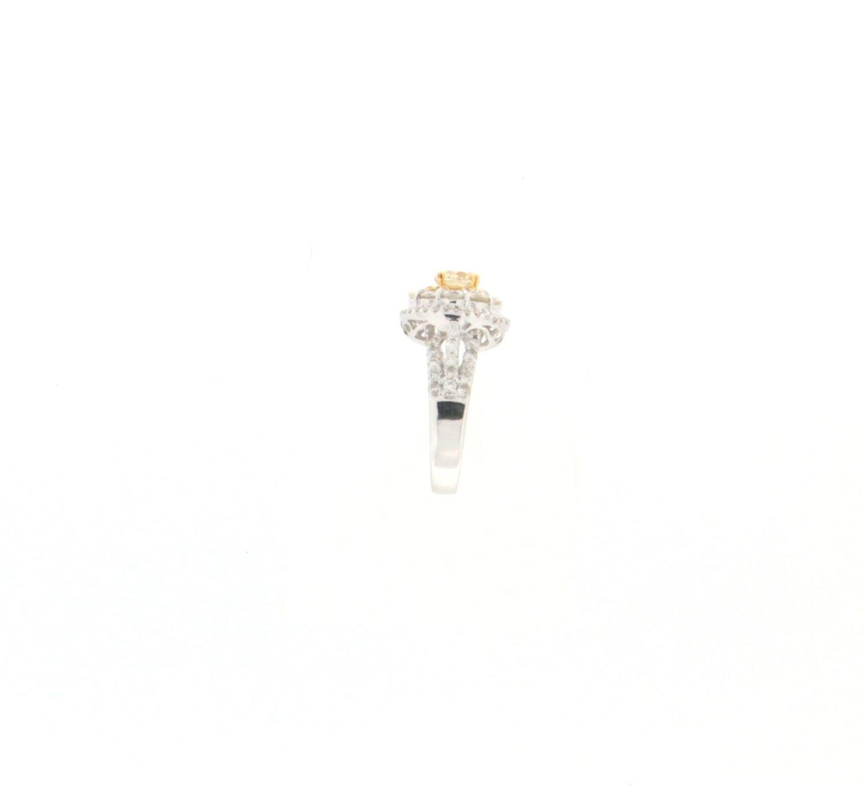 c82bf4013098b0 0.66 Karat Certified Fancy 18 Karat White Gold Diamond Engagement Ring For  Sale at 1stdibs