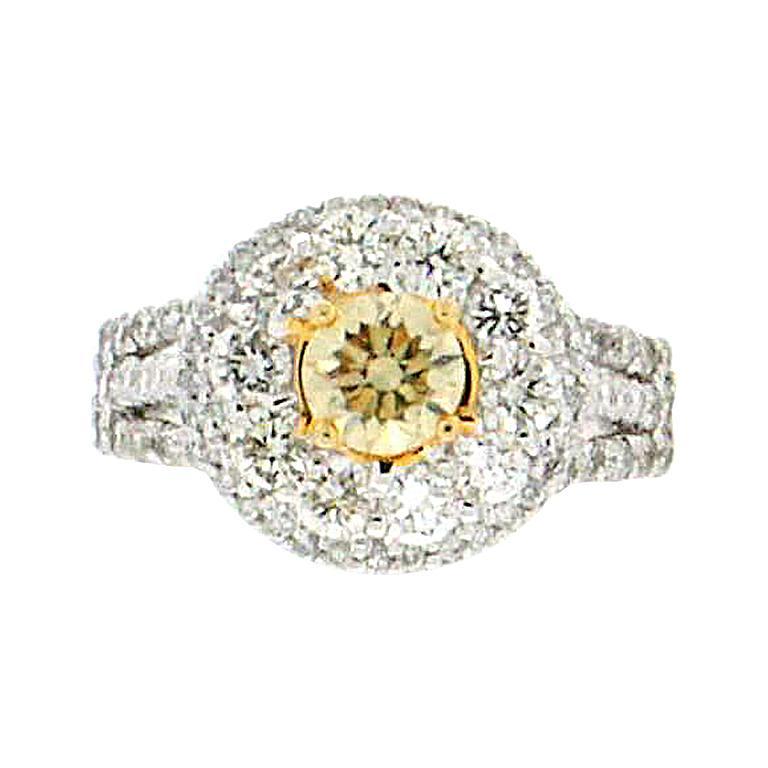 bccc1f1318f82c 0.66 Karat Certified Fancy 18 Karat White Gold Diamond Engagement Ring For  Sale
