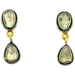 0.67 Carat Old Mine Cut 'Polki' Diamond Stud Drop Earring in Silver, 14K Gold