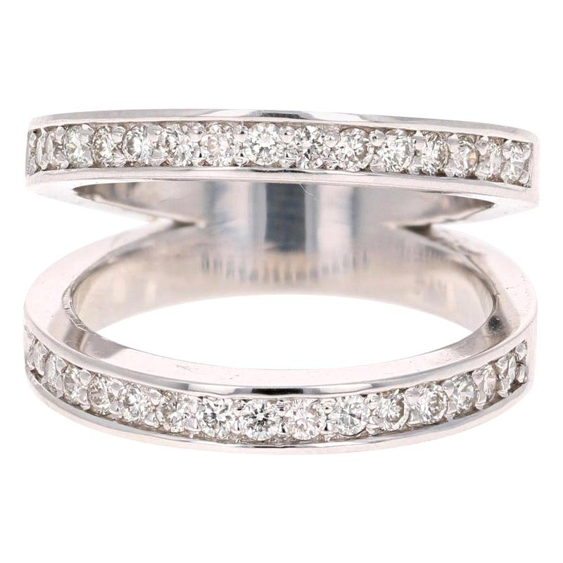 0.67 Carat Round Cut Diamond Cocktail Ring 14 Karat White Gold