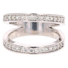 0.67 Carat Round Cut Diamond Cocktail Ring 14 Karat White Gold