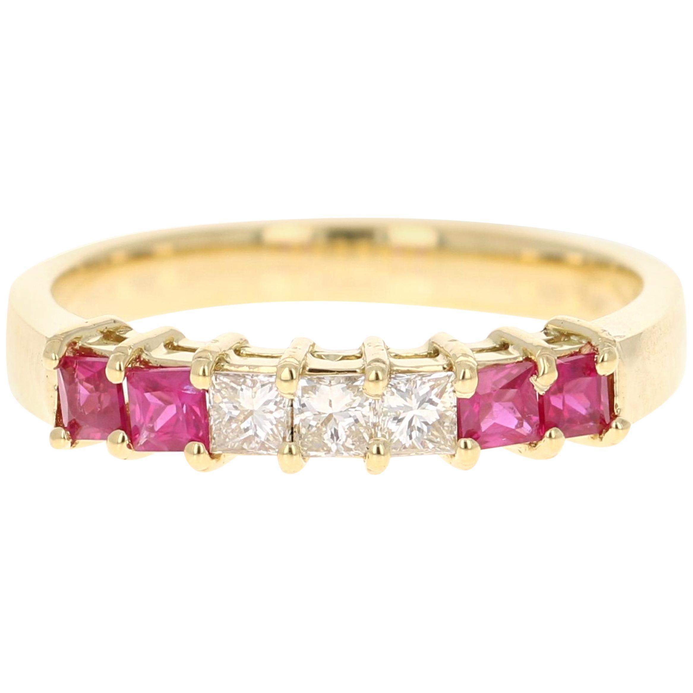 0.67 Carat Ruby Diamond 18 Karat Yellow Gold Band