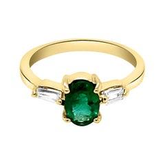 0.67ct Natural Emerald 14k Yellow Gold Ring