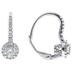 0.68 Carat Diamond 14 Karat White Gold Lever Back Earrings