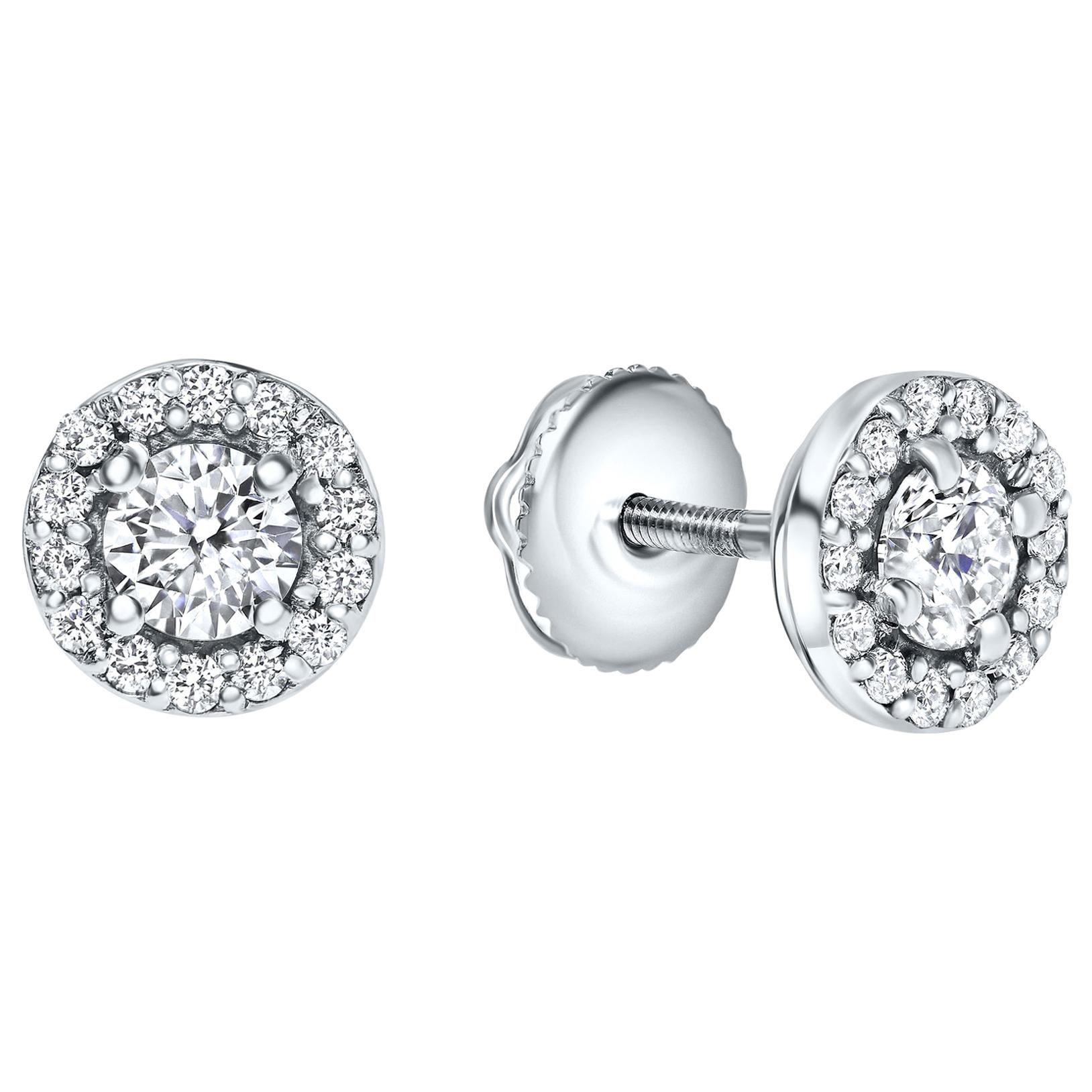 0.68 Carat Diamond Midi Halo Earrings in 14 Karat White Gold - Shlomit Rogel