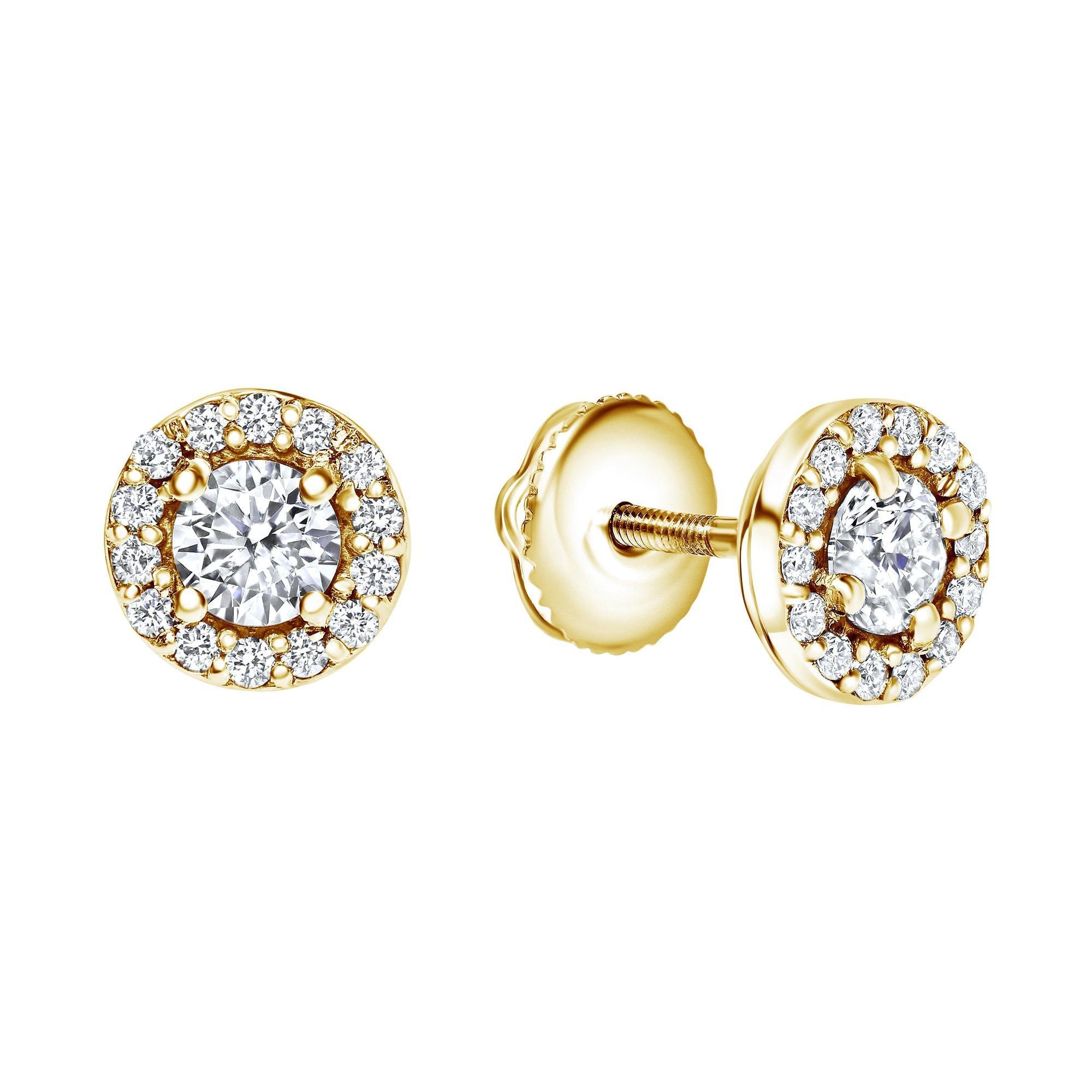0.68 Carat Diamond Midi Halo Earrings in 14 Karat Yellow Gold, Shlomit Rogel