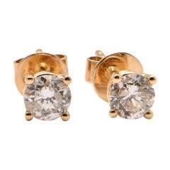 0.68 Carat Diamond Studs in 18 Carat Yellow Gold