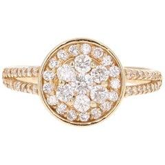 Round Cut Diamond 14K Yellow Gold Cluster Ring