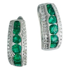 0.68 Carat Fine Emerald and Diamond Hoop Stud Earrings in 18 Karat White Gold
