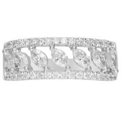 0.68 Carat Marquise Diamond 18 Karat White Gold Engagement Ring