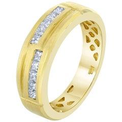 0.68 Carat Men's Wedding Band 14 Karat Yellow Gold