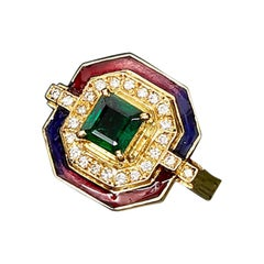 0.68 Carat Natural Emerald and Diamond Art Deco Style Contemporary Ring