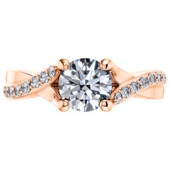 0.68 Carat Round Side Band Diamond Solitaire 18 Karat Rose Gold Engagement Ring