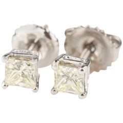 0.69 Carat Princess Cut Diamond Stud Earrings in White Gold