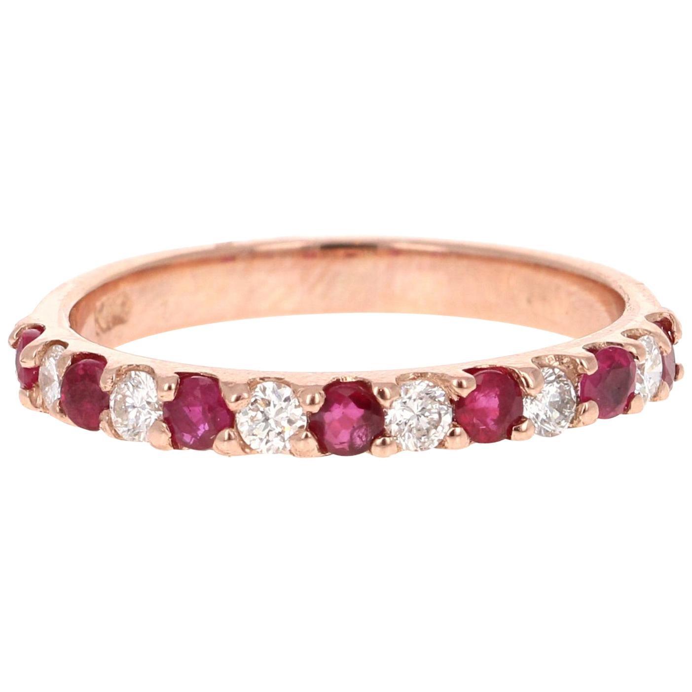 0.69 Carat Ruby Diamond 14 Karat Rose Gold Band