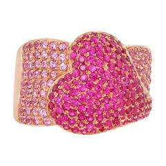 0.7 Carat Pink Sapphire and Ruby Ring in 14 Karat Rose Gold
