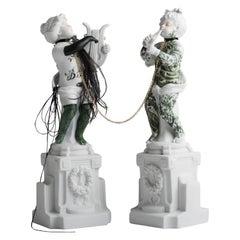 """#07 from the """"Los Infortunios de la virtud, Two Antique Intervened Porcelain"""