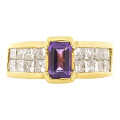 0.70 Carat Amethyst and Princess Cut Diamond Cocktail Ring in 18 Karat Gold