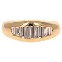 0.70 Carat Baguette Diamond 18 Karat Yellow Gold Band