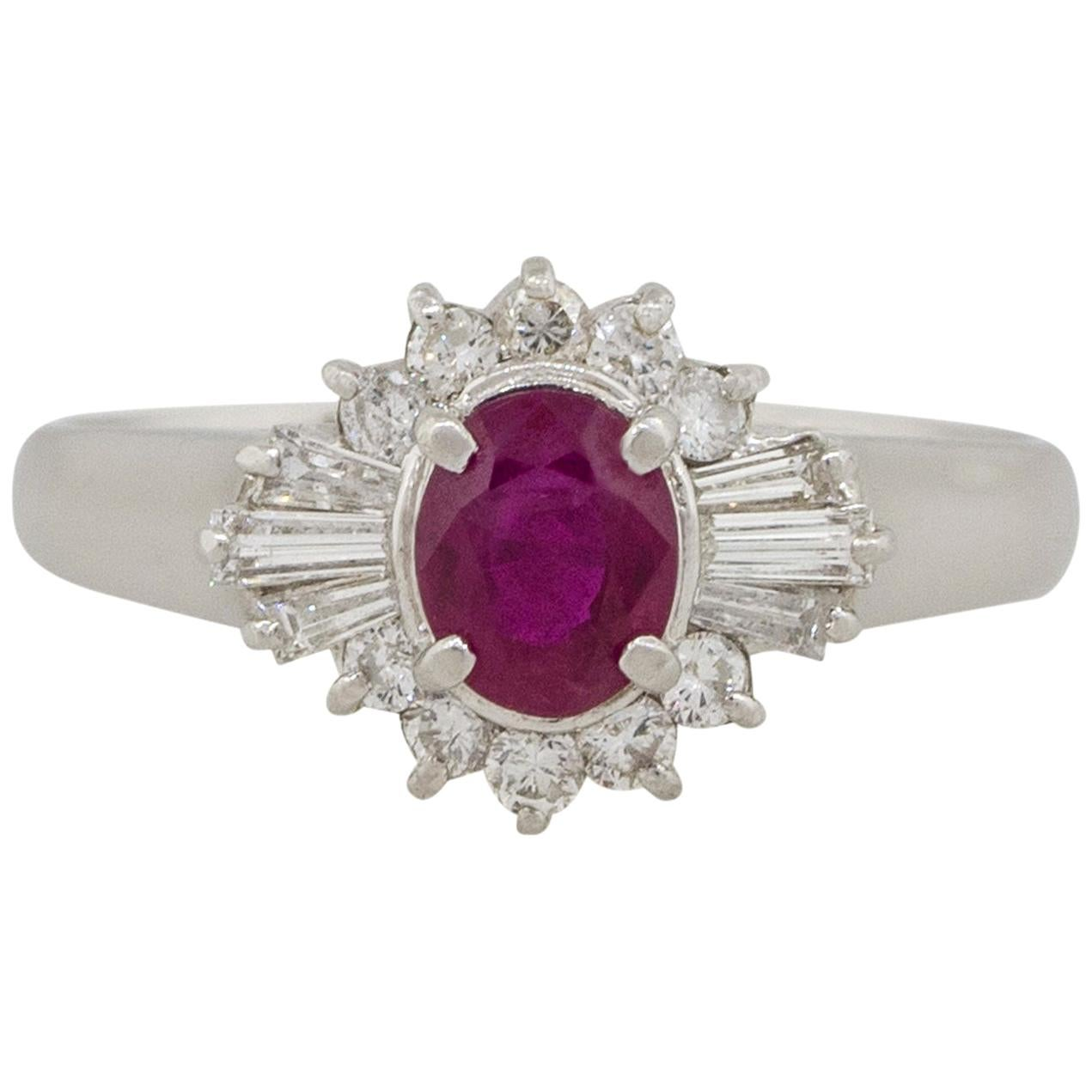 0.70 Carat Bezel Set Oval Cut Ruby Diamond Cocktail Ring Platinum in Stock