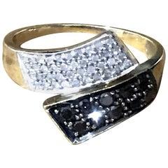 0.70 Carat Black and White Diamond 9 Carat Gold Ring Very Rare by TGCC