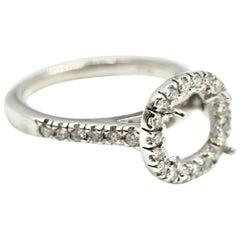 0.70 Carat Diamond 14 Karat White Gold Semi-Mount Engagement Ring
