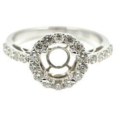 0.70 Carat Diamond 18 Karat White Gold Semi-Mount Engagement Ring