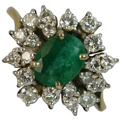 0.70 Carat Diamond and Emerald 18 Carat Gold Cluster Ring