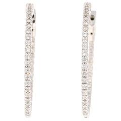0.70 Carat Diamond Hoop Earrings 14 Karat White Gold