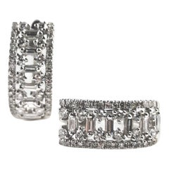 0.70 Carat Diamond Hoop Earrings in 18 Karat White Gold