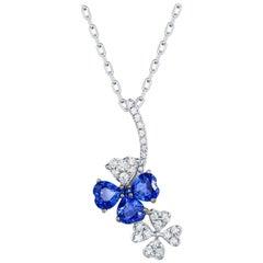 0.70 Carat Heart Shape Blue Sapphire Diamond Pavé Floral Pendant 18 Karat Gold